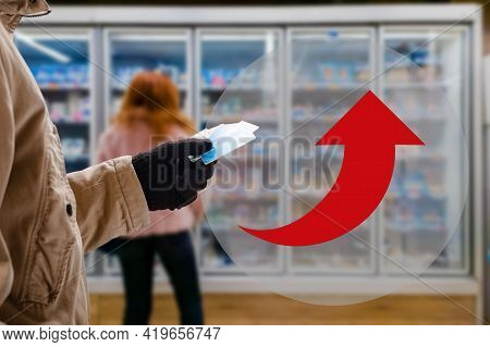 Man In Grocery Store Prefer Paying For Purchases By Credit Card, Not Cash. Arrow As An Increase In P