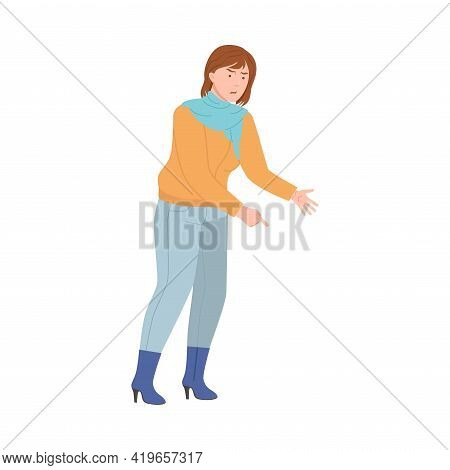 Angry Woman Scolding And Yelling At Somebody Finger Pointing Vector Illustration