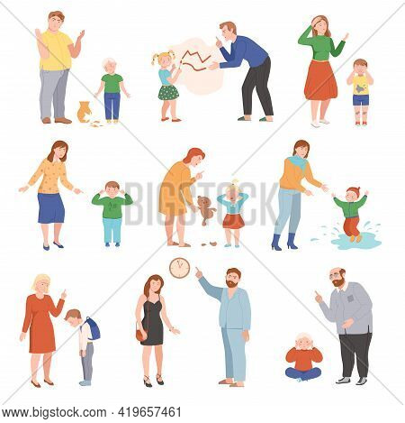 Annoyed Parents Scolding Their Kids For Disobedience And Bad Behavior Vector Illustration Set