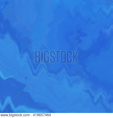 Abstract Blue Liquid Glass Pattern. Glossy Textured Marble Background. Color Glass Grunge Texture In