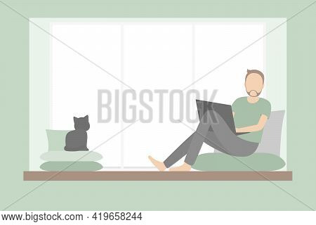 Freelancer Sitting On Windowsill And Working On Laptop. Vector Illustration.