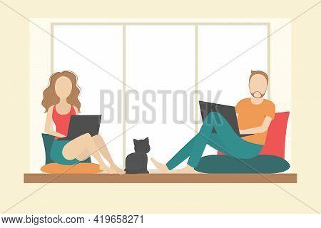 Man And Woman Sitting On Windowsill With Laptops. Vector Illustration.