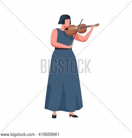 Female Musician Playing Violin With Bow. Violinist Performing Classic Music On Fiddle With Fiddlesti