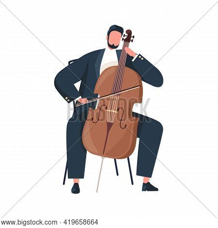 Musician Holding Bow And Playing Cello. Cellist Performing Classic Music On String Instrument. Violo