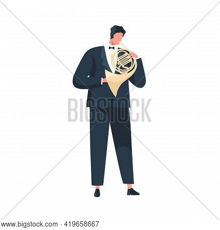 Musician In Suit And Bow Performing Classic Melody On French Horn. Instrumentalist Playing Music On