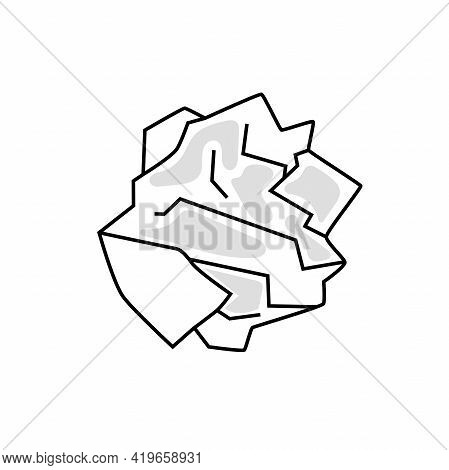 Used Wrinkled Paper. Ecology Concept, Garbage Recycling, Waste Disposal. Vector Illustration Isolate