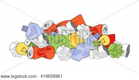A Pile Of Rubbish. Ecology Concept, Garbage Recycling, Waste Disposal. Vector Illustration Isolated