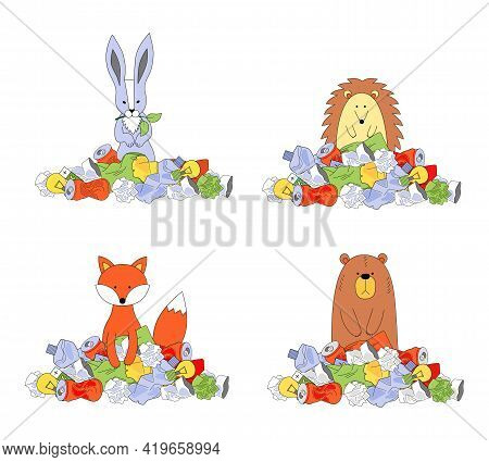 Animals In A Pile Of Trash. Ecology Concept, Garbage Recycling, Waste Disposal. Hare, Bear, Hedgehog