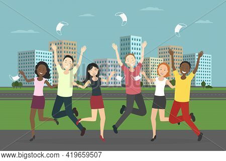 Multiethnic Group Of People Rejoice At Pandemic Ending. Vector Illustration.