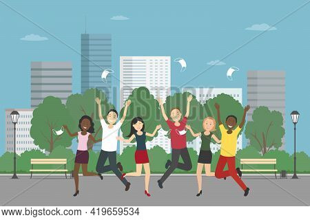 Multiethnic Group Of People Rejoice At Epidemic Ending. Vector Illustration.