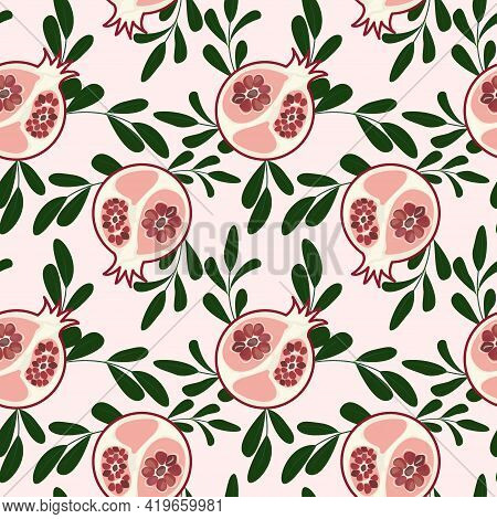 Seamless Pattern With Pomegranate And Twigs. Abstract Pomegranate Seeds In The Section With A Pink B