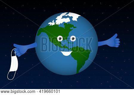Planet Earth Take Off Medical Mask. Pandemic Ending. Vector Illustration.