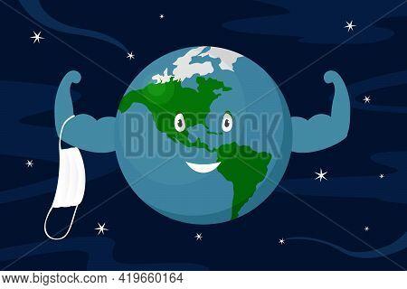 Planet Earth Take Off Medical Mask. Quarantine Ending. Vector Illustration.