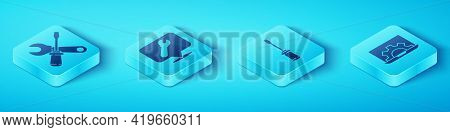 Set Isometric Screwdriver And Wrench Spanner, Location With Wrench Spanner, Laptop And Gear And Scre