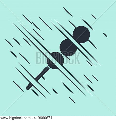 Black Meatballs On Wooden Stick Icon Isolated On Green Background. Skewer With Meat. Glitch Style. V