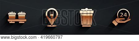 Set Coffee Cup To Go, Cafe And Restaurant Location, Coffee Cup To Go And Clock 24 Hours Icon With Lo