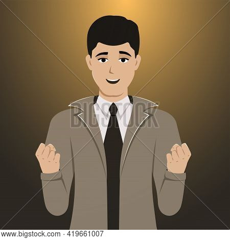Vector Illustration Of A Happy Man Celebrating A Victory. A Smiling Successful Guy. Person With A Jo
