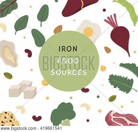 Square Banner Of Iron Rich Food Sources. Story Template With Various Sources Of Iron. Background Pat