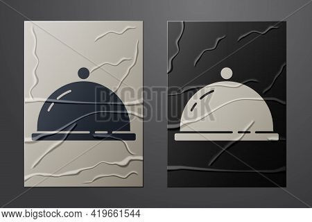 White Covered With A Tray Of Food Icon Isolated On Crumpled Paper Background. Tray And Lid Sign. Res