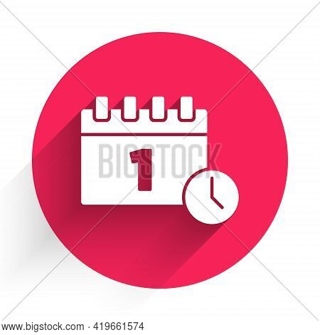 White Calendar With First September Date Icon Isolated With Long Shadow. September 1. Date And Time,