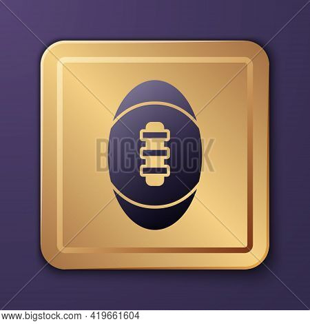 Purple American Football Ball Icon Isolated On Purple Background. Rugby Ball Icon. Team Sport Game S