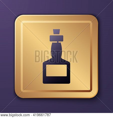 Purple Tabasco Sauce Icon Isolated On Purple Background. Chili Cayenne Pepper Sauce. Gold Square But