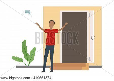African-american Man Rejoice And Take Off Medical Mask. Lockdown Ending. Vector Illustration.