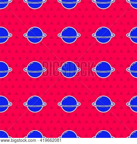 Blue Planet Saturn With Planetary Ring System Icon Isolated Seamless Pattern On Red Background. Vect