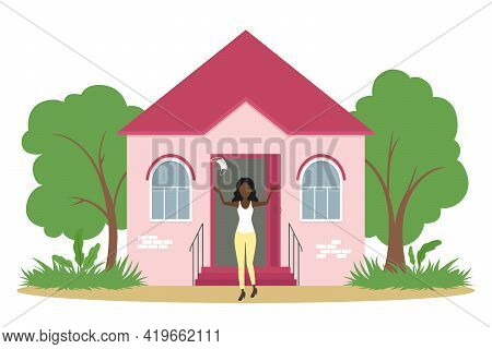 African-american Woman Rejoice And Take Off Medical Mask. Lockdown Cancellation. Vector Illustration