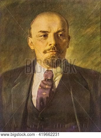 Druskininkai, Lithuania - May 1 2021: Lenin Old Oil Painting, Russian Revolutionary, Politician, And