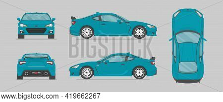 Vector Blue Sport Car. Side View, Front View, Back View, Top View. Cartoon Flat Illustration, Car Fo