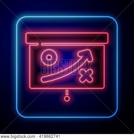 Glowing Neon Planning Strategy Concept Icon Isolated On Blue Background. Cup Formation And Tactic. V