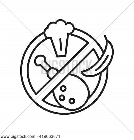 Stop Food , No Eating Icon Vector In Line, Outline Style.chicken Leg Grill, Banana, Broccoli Shown.