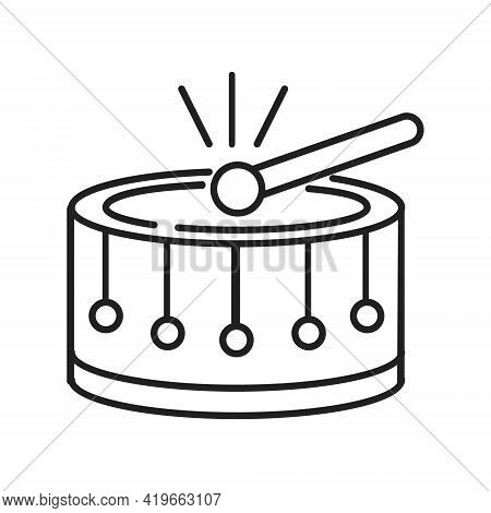 Drum Icon Vector In Line, Outline Style. East Culture, Muslim, Arabic, Moroccan Drum Sign. Play On M