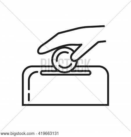 Donations Icon Line Vector. The Human Hand Gives Coins, Money For Charity. Monetary Assistance To Th