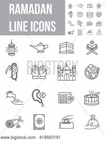 Simple Ramadan Kareem Line Icon Set Vector. Eid Al-adha Islam Signs. Mosque, Koran, Lantern, Prayer,