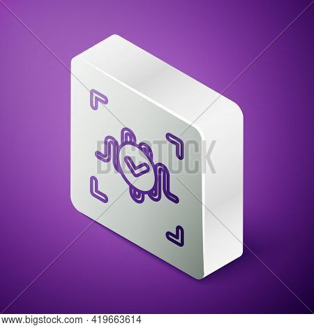 Isometric Line Voice Recognition Icon Isolated On Purple Background. Voice Biometric Access Authenti