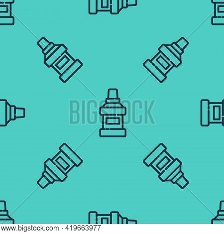 Black Line Mouthwash Plastic Bottle Icon Isolated Seamless Pattern On Green Background. Liquid For R