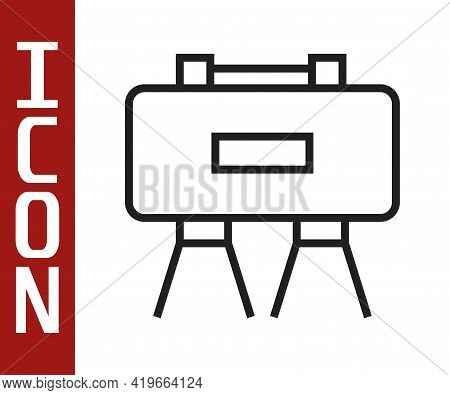 Black Line Military Mine Icon Isolated On White Background. Claymore Mine Explosive Device. Anti Per