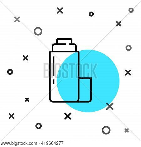 Black Line Thermos Container Icon Isolated On White Background. Thermo Flask Icon. Camping And Hikin