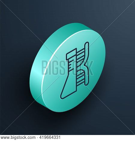 Isometric Line Dna Research, Search Icon Isolated On Black Background. Genetic Engineering, Genetics