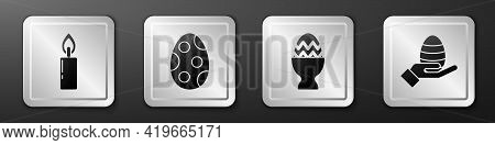 Set Burning Candle, Easter Egg, Easter Egg On A Stand And Human Hand And Easter Egg Icon. Silver Squ