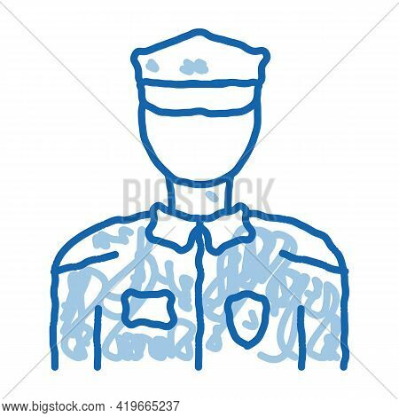 Policeman In Police Suit Sketch Icon Vector. Hand Drawn Blue Doodle Line Art Policeman In Police Sui