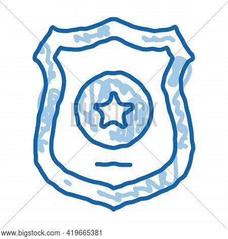 Police Officer Badge Sketch Icon Vector. Hand Drawn Blue Doodle Line Art Police Officer Badge Sign.