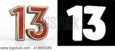 Number Thirteen (number 13) With Red Transparent Stripe On White Background, With Alpha Channel. 3d