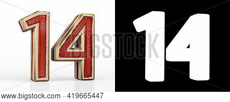 Number Fourteen (number 14) With Red Transparent Stripe On White Background, With Alpha Channel. 3d