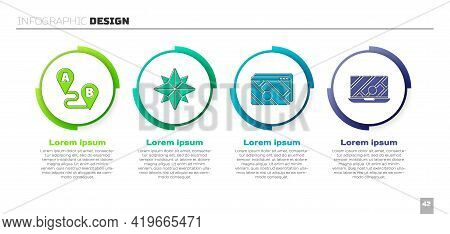 Set Route Location, Wind Rose, Infographic Of City Map Navigation And City Map Navigation. Business