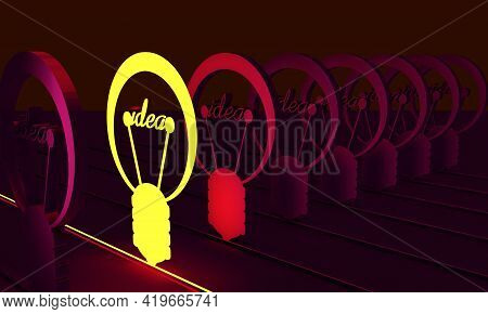 Neon Shine Bulb Outstanding Icon In Dark Space