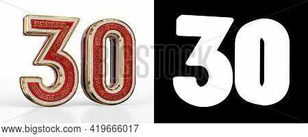 Number Thirty (number 30) With Red Transparent Stripe On White Background, With Alpha Channel. 3d Il