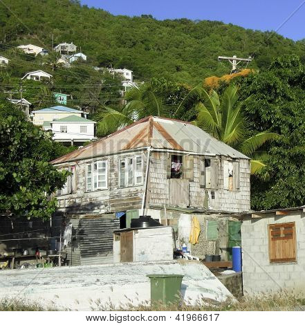 Old Clapboard Caribbean Style Wood House Zinc Metal Roof Bequia St. Vincent And The Grenadines Town